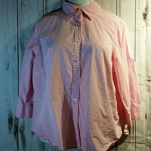 IZOD pink and white blouse size 1x